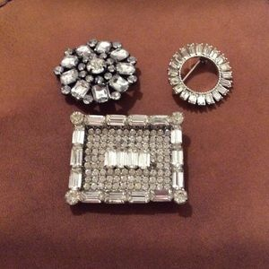 3 Vintage and/or Repro Rhinestone Pins